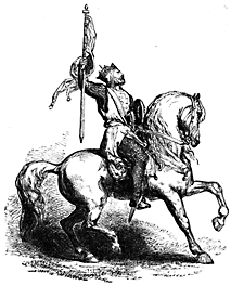 A man holds a banner while seated on a horse.