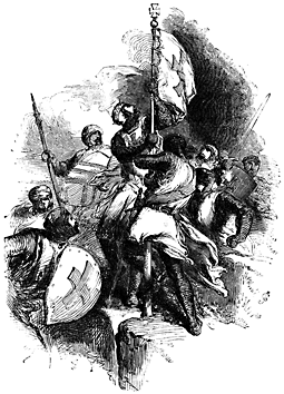 A group of crusaders raise a whit flag with a cross on it.