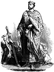 Full-length portrait of a man draped in robes.