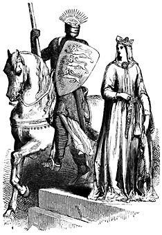 An armored man sits on a horse, a robed woman stands near them.