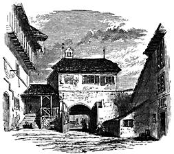 A city gatehouse.
