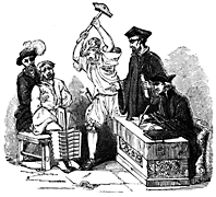 A person sits in a chair with an apparatus about his lower legs. A man swings a large hammer towards him. Several other men stand by.