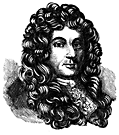 Head and shoulders portrait of a bewigged man.
