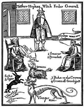 A print with various animals and people. It reads 'Matthew Hopkins Witch Finder Generall'