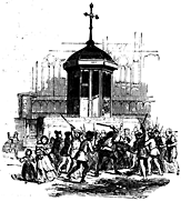 Men fight with sticks in front of a chuch.