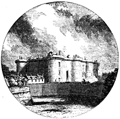 A vignette showing a fortress with dramatic clouds and lighting.