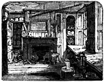 House interior. There's a fireplace and a couple of bookcases. Windows are on the right.