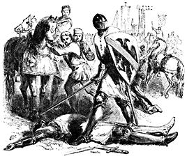 A helmed man stands over a dead man. A broken sword lies nearby.