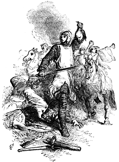 A man stands victoriously holding up a severed head.