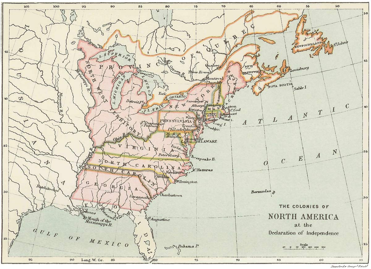 The Project Gutenberg EBook Of History Of The English People - Map of american colonies