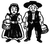 A cartoon Pa. Dutch couple, holding baskets.