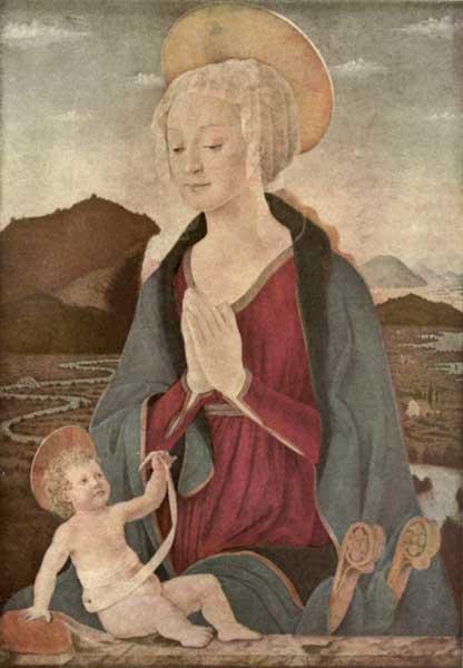 ALESSO BALDOVINETTI: MADONNA AND CHILD IN A LANDSCAPE
