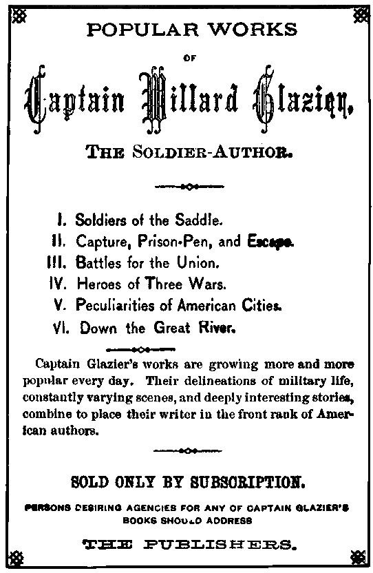 The project gutenberg ebook of sword and pen by john algernon owens advertisement for works of glazier fandeluxe Gallery