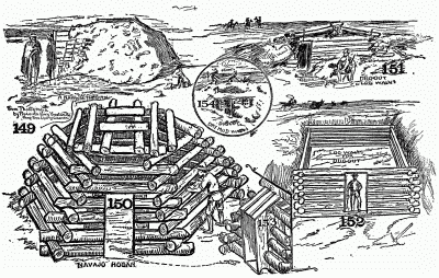 Forms of dugouts and mound shacks.