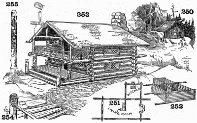 A totem motif. An artistic and novel treatment for a log house.