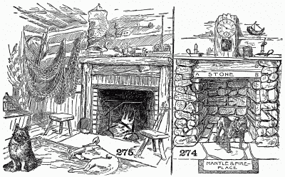 Fireplace in author's cabin, and suggestion for stone and wood mantel.
