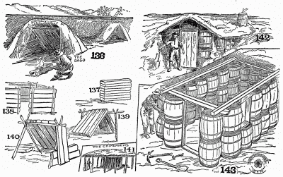 Railroad-tie shacks, barrel shack, and a Chimehuevis.