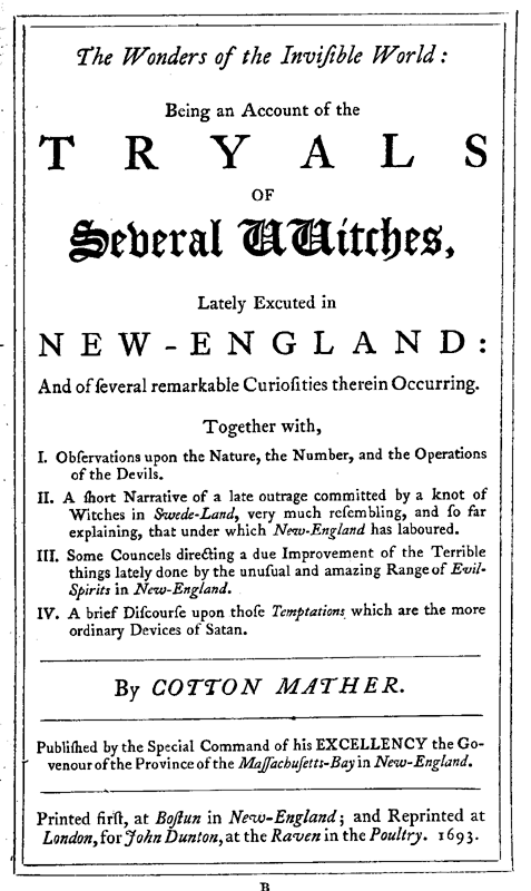 cotton mather the wonders of the invisible world sparknotes