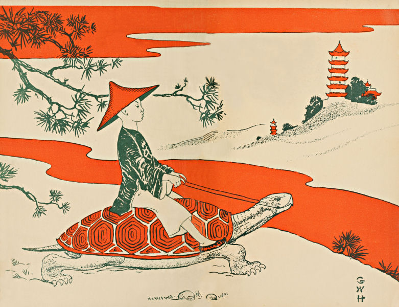 Endpapers, showing a boy riding on a large tortoise