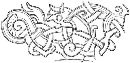 Section Of A Knotwork Pattern Showing Zoomorphic Figure