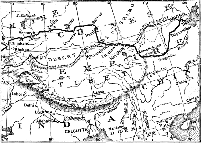 BICYCLE ROUTE OF Messrs. Allen & Sachtleben ACROSS ASIA.
