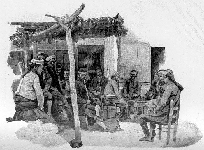 SCENE AT A GREEK INN.