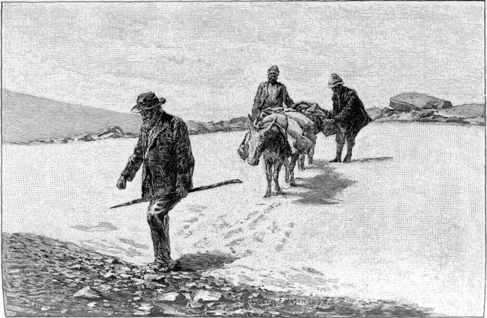 HELPING THE DONKEYS OVER A SNOW-FIELD.