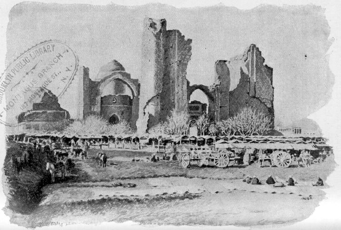 A MARKET-PLACE IN SAMARKAND, AND THE RUINS OF A COLLEGE.