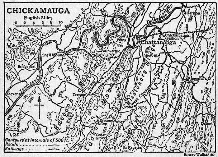 ... at last collected his army on Chickamauga Creek covering Chattanooga.  But Bragg had now received heavy reinforcements, and lay, concentrated for  battle, ...