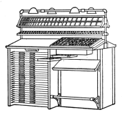 "Fig. 24. ""Adman"" Cabinet has equipment for two compositors, supply of leads and slugs and assortment of materials such as brass and copper thin spaces and quads."