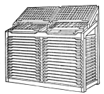 "Fig. 25. Double ""City"" Stand with working cases and case racks. Note that the lower case may be pushed up when necessary to allow access to galley underneath."