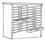 Fig. 39. Cabinet for Script Type, Borders, or other small characters which can be kept standing face up.