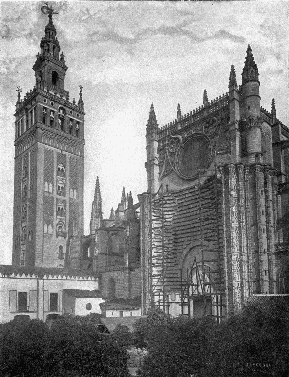 The project gutenberg ebook of cathedrals of spain by john a john cathedral of seville the giralda from the orange tree court fandeluxe Gallery