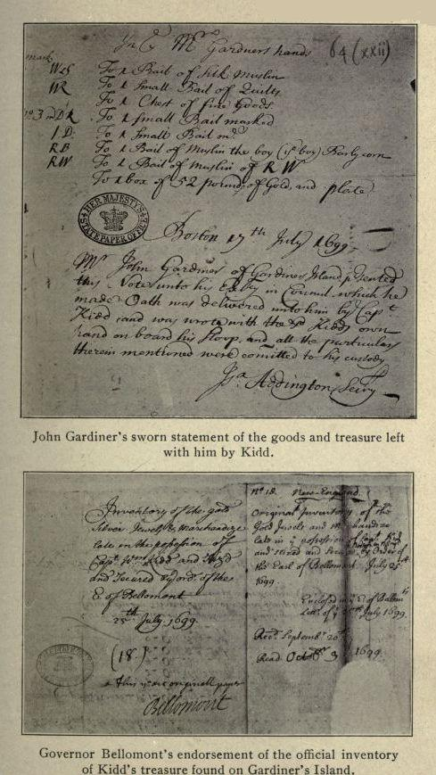 John Gardiner s sworn statement of the goods and treasure left with him by  Kidd. 88fbcaeadd5