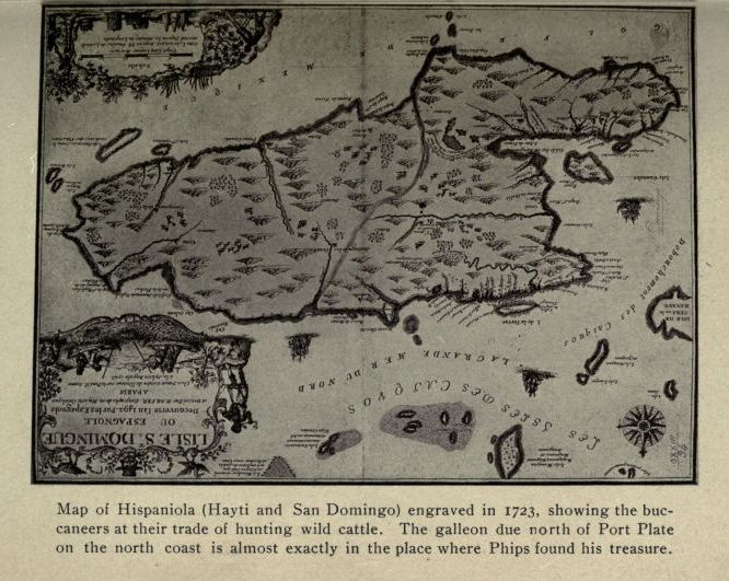 The project gutenberg e text of the book of buried treasure by map of hispaniola hayti and san domingo engraved in 1723 showing the buccaneers at their trade of hunting wild cattle the galleon due north of port fandeluxe Choice Image
