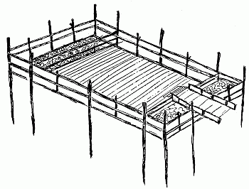 H. Swimming Crib as it would appear out of water. The crib is 35' by 20', outside dimensions, with end pockets for stones, 2½' each, leaving a swimming space of 30' by 20'. The idea for this was planned and executed by the Engineers of the Park Commission of the N.Y. and N.J. Interstate Park, for use in the camps in the Palisades Park.