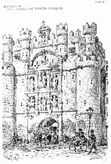 The project gutenberg ebook of an architects note book in spain by plate 1 burgos the arco de santa maria mdw 1869 fandeluxe Images
