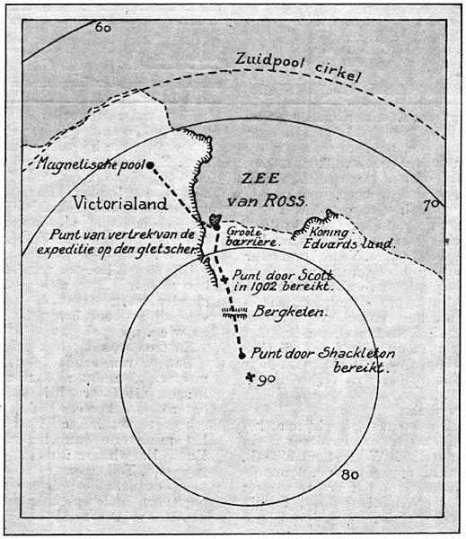 Op den uitkijk 1909 kaartje van den tocht van luitenant shackleton fandeluxe Gallery