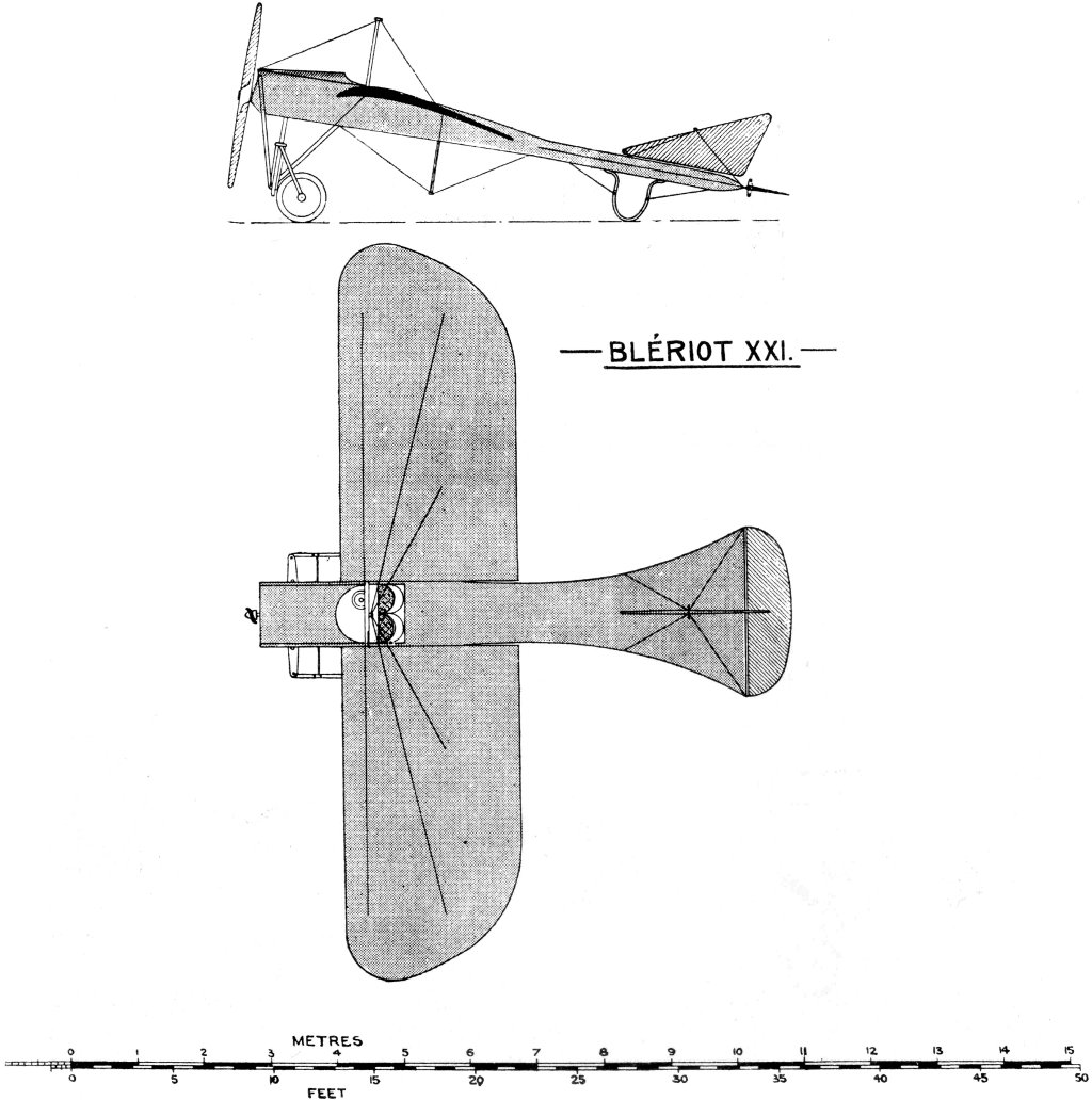 Bleriot XXI. Uniform Aeroplane Scale. General standard type of Bleriot 1912