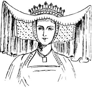 HORNED HEAD-DRESS OF 15TH CENTURY.  From Effigy of Countess of Arundel in Arundel Church.