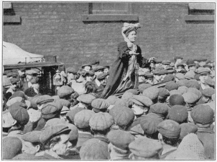 MRS. PANKHURST ADDRESSING A BY-ELECTION CROWD