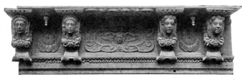 Portion of carved cornice of pinewood.