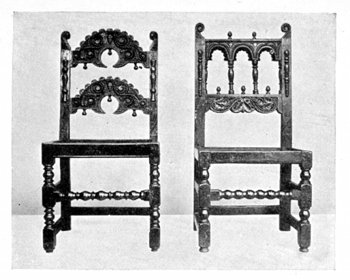 JACOBEAN CARVED OAK CHAIRS.