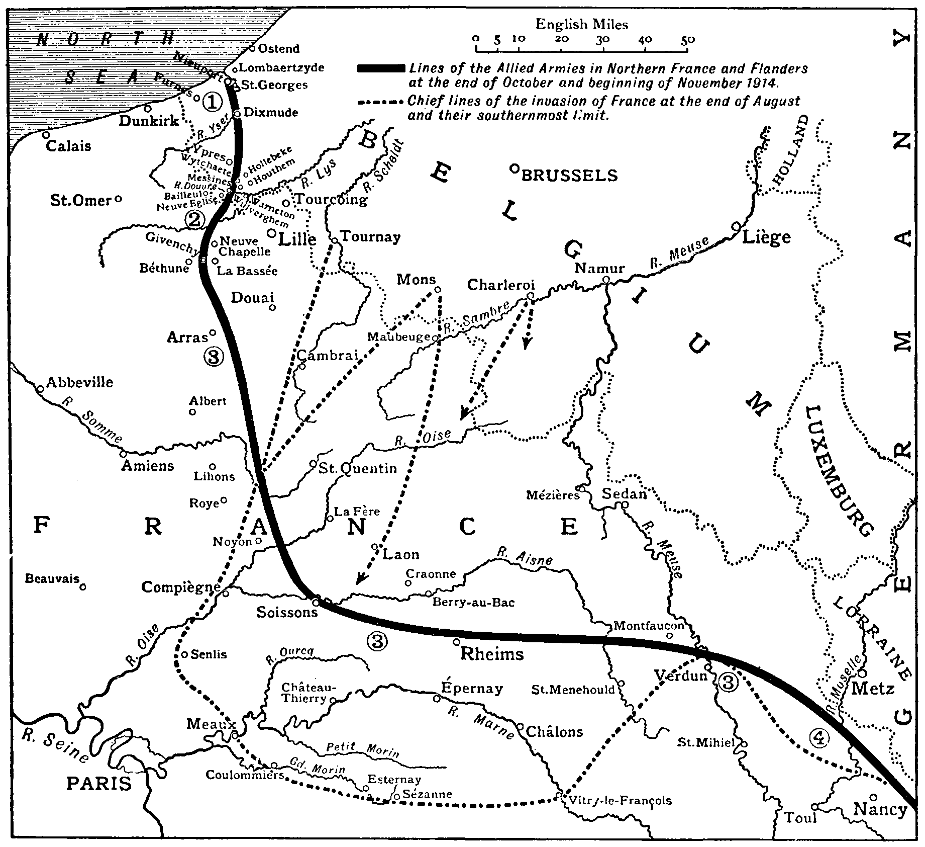 The new gresham encyclopedia volume iv part 3 map showing lines of the allied armies in northern france at the end of october and fandeluxe Gallery