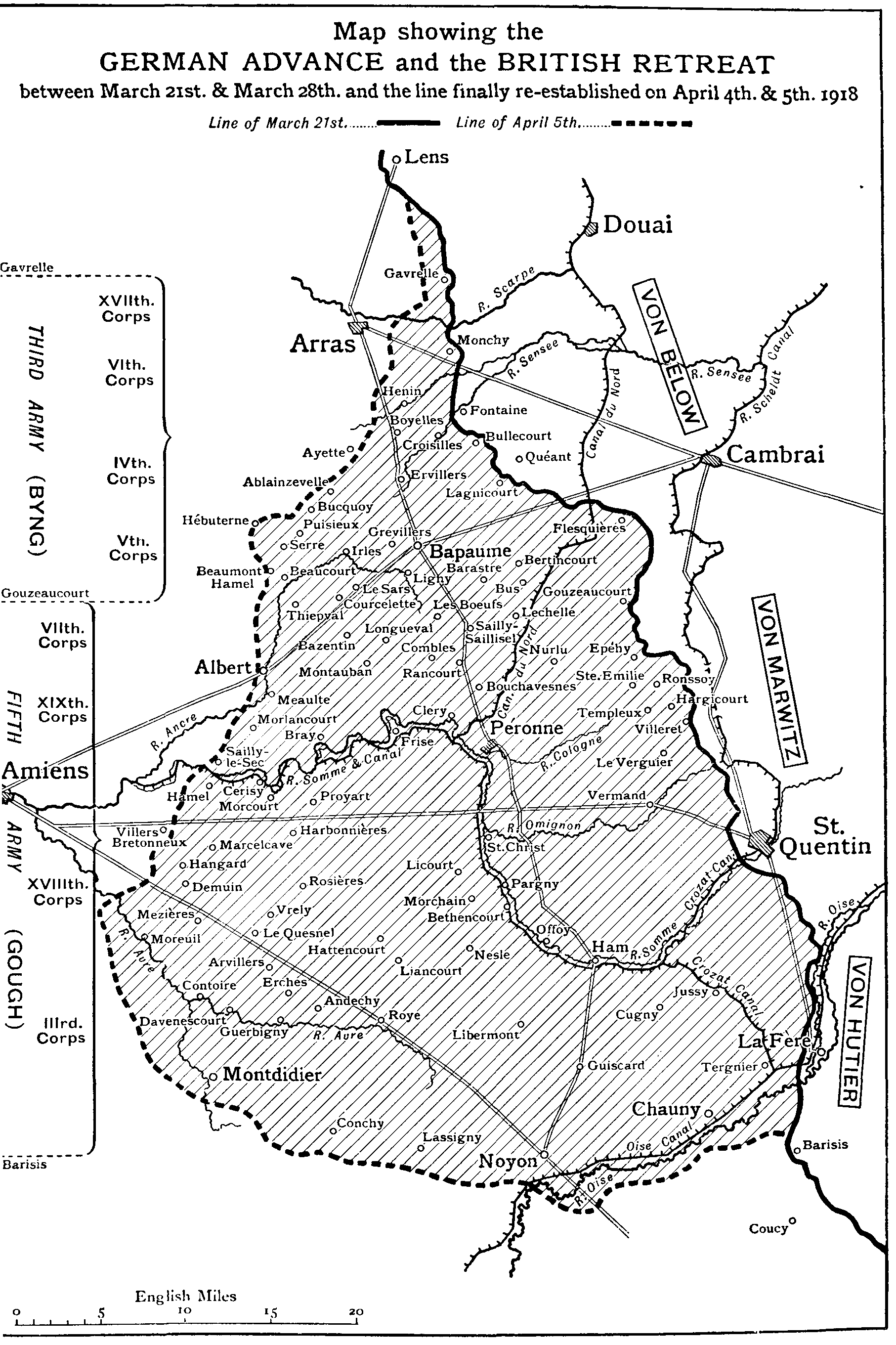 The new gresham encyclopedia volume iv part 3 map showing the german advance and the british retreat between march 21st and march 28th fandeluxe Images