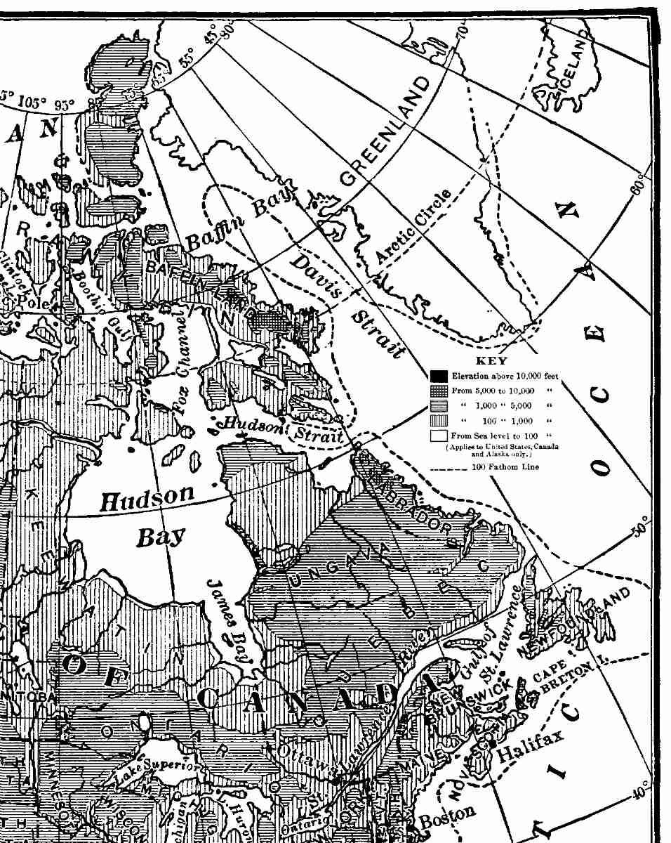 The project gutenberg ebook of north america by israel c russell relief map of north america after united states geological survey and canadian geological survey larger nw quadrant view fandeluxe Image collections