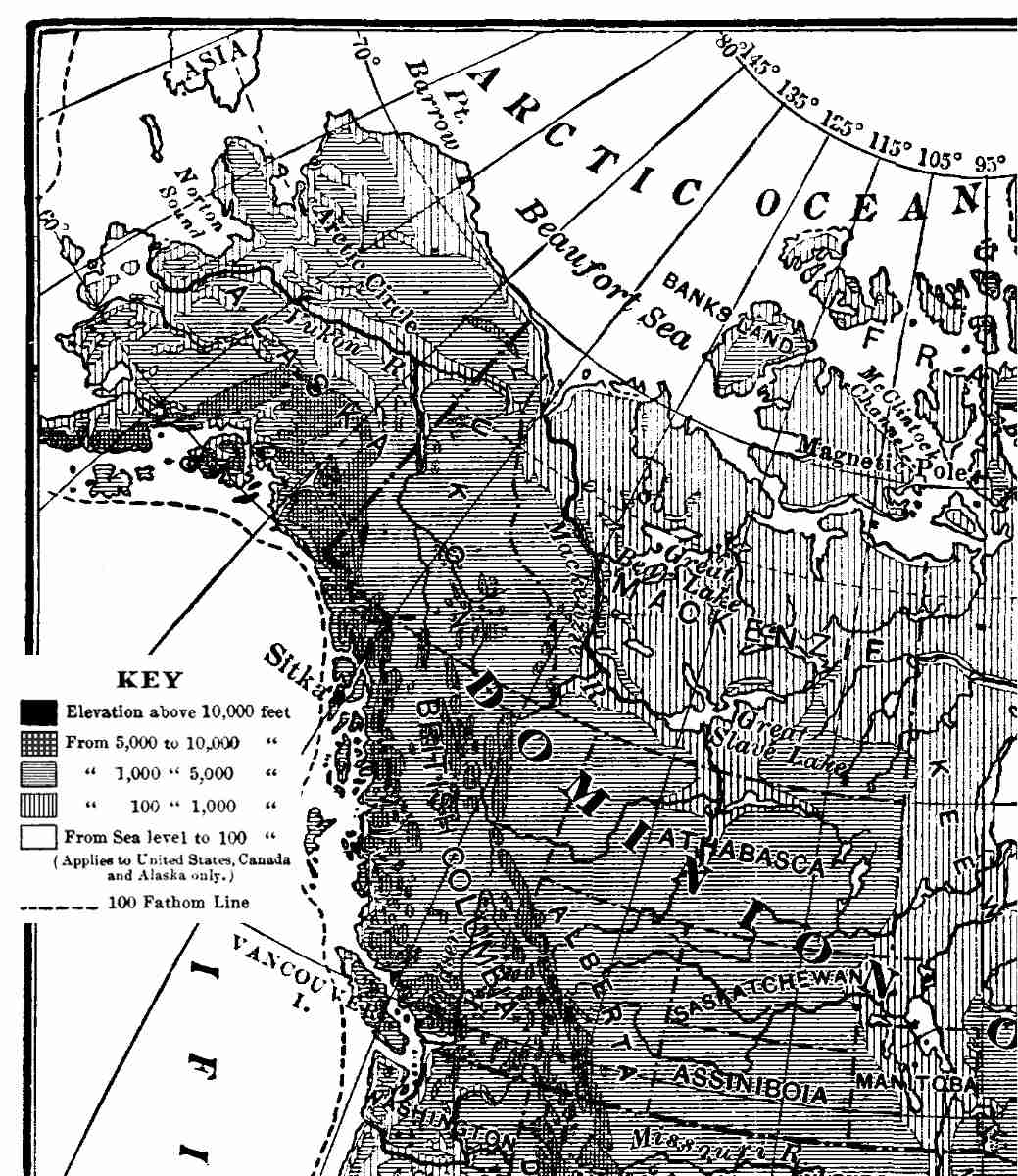 The project gutenberg ebook of north america by israel c russell relief map of north america after united states geological survey and canadian geological survey fandeluxe Image collections