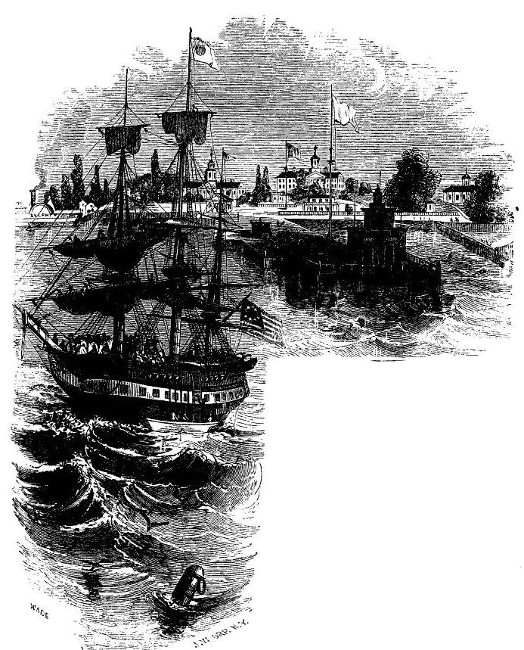 'HEALTH-OFFICER BOARDING AN IMMIGRANT SHIP, QUARANTINE, STATEN ISLAND.' from the web at 'http://www.gutenberg.org/files/36405/36405-h/images/image1.jpg'