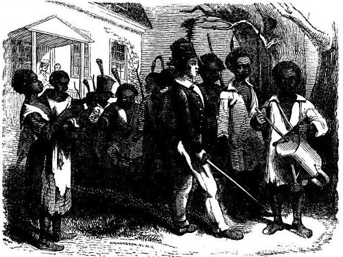 'DRILLING THE NEGRO BOYS.' from the web at 'http://www.gutenberg.org/files/36405/36405-h/images/image10.jpg'