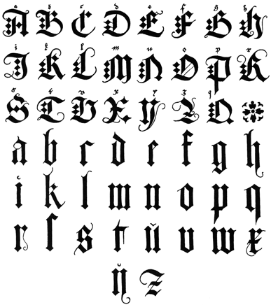 More elegant form of the letters, including versals